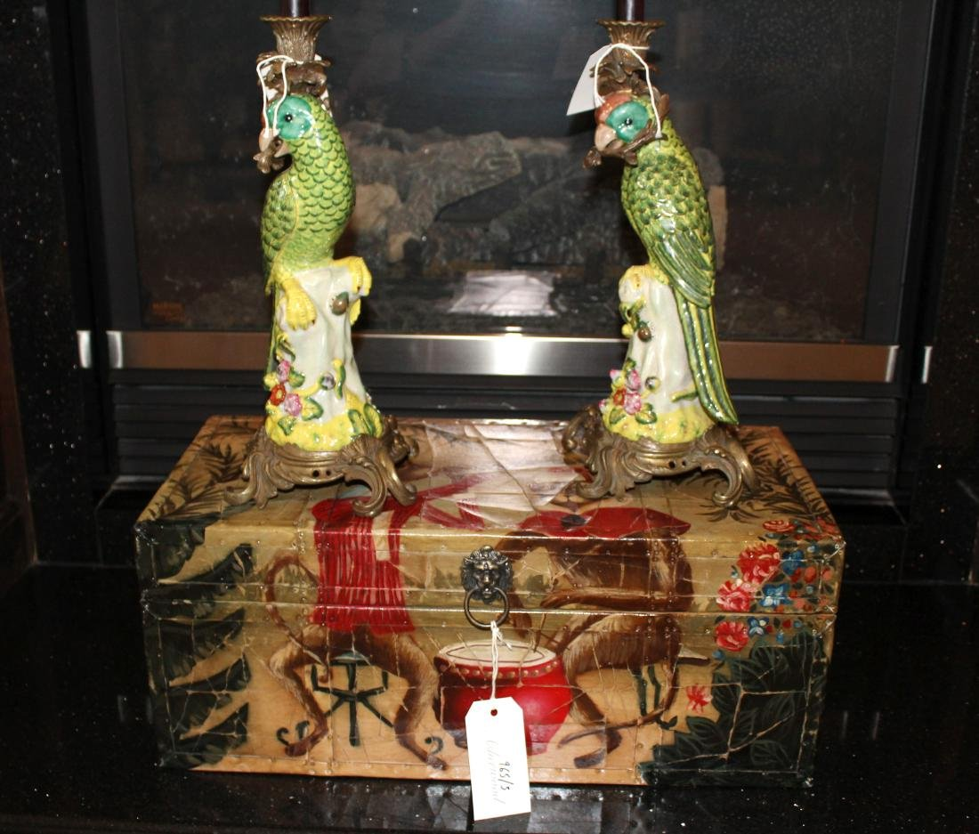 Pair of Parakeet Candleholders & Chest (3)