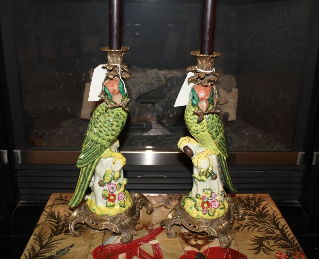Pair of Parakeet Candleholders & Chest (3) - 2