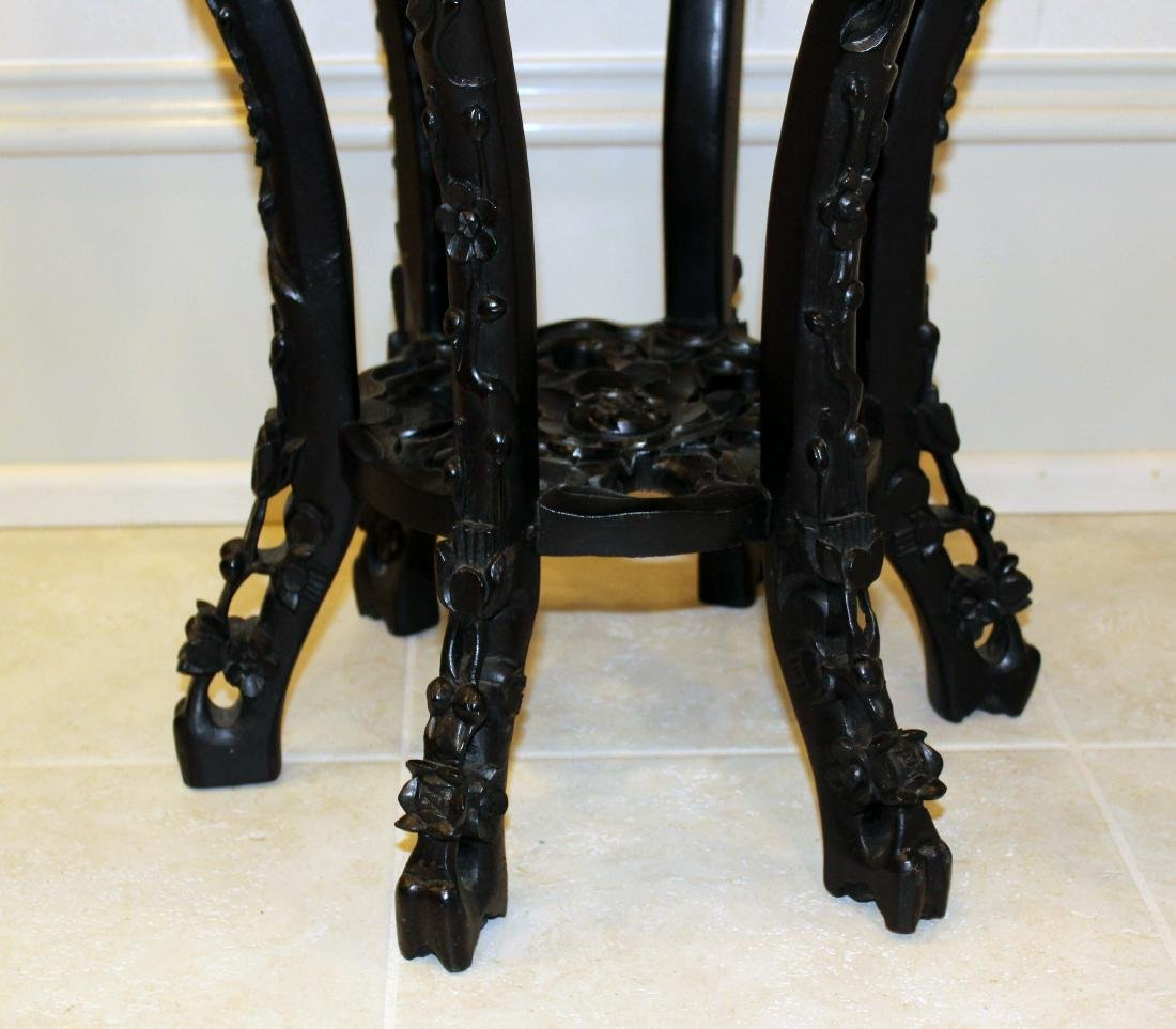 Chinese Teakwood Stand. Marble Top. - 3