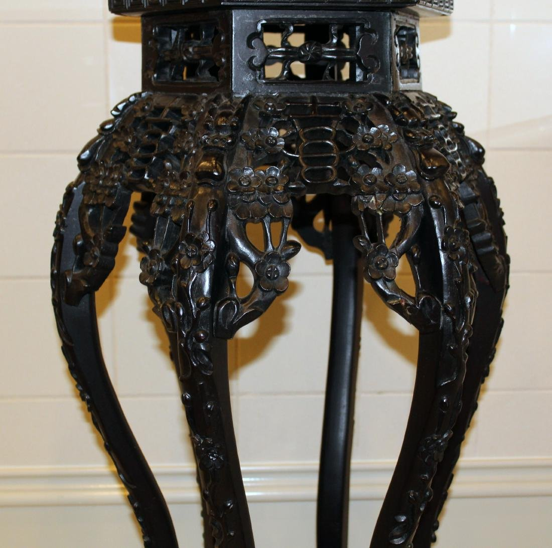 Chinese Teakwood Stand. Marble Top. - 4