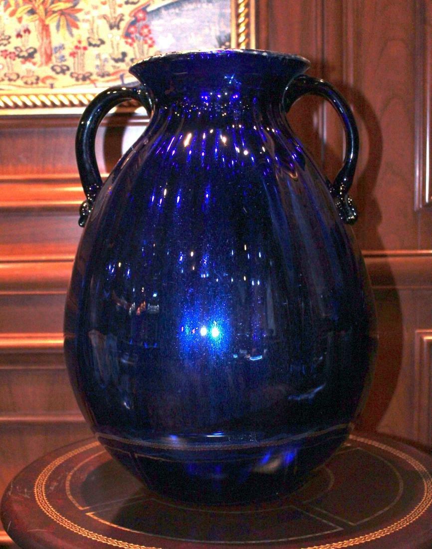 Blue Handblown Glass Jug
