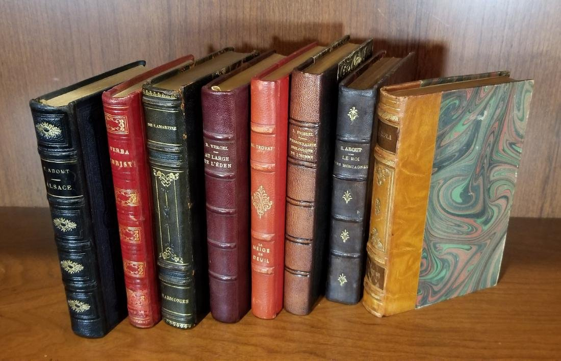 Decorative French Leather Bound Books (8) - 2