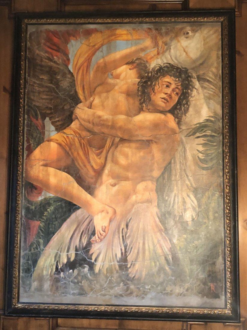 Mythological Winged Figures. Oil on canvas