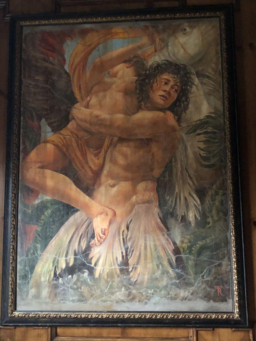 Mythological Winged Figures. Oil on canvas - 2