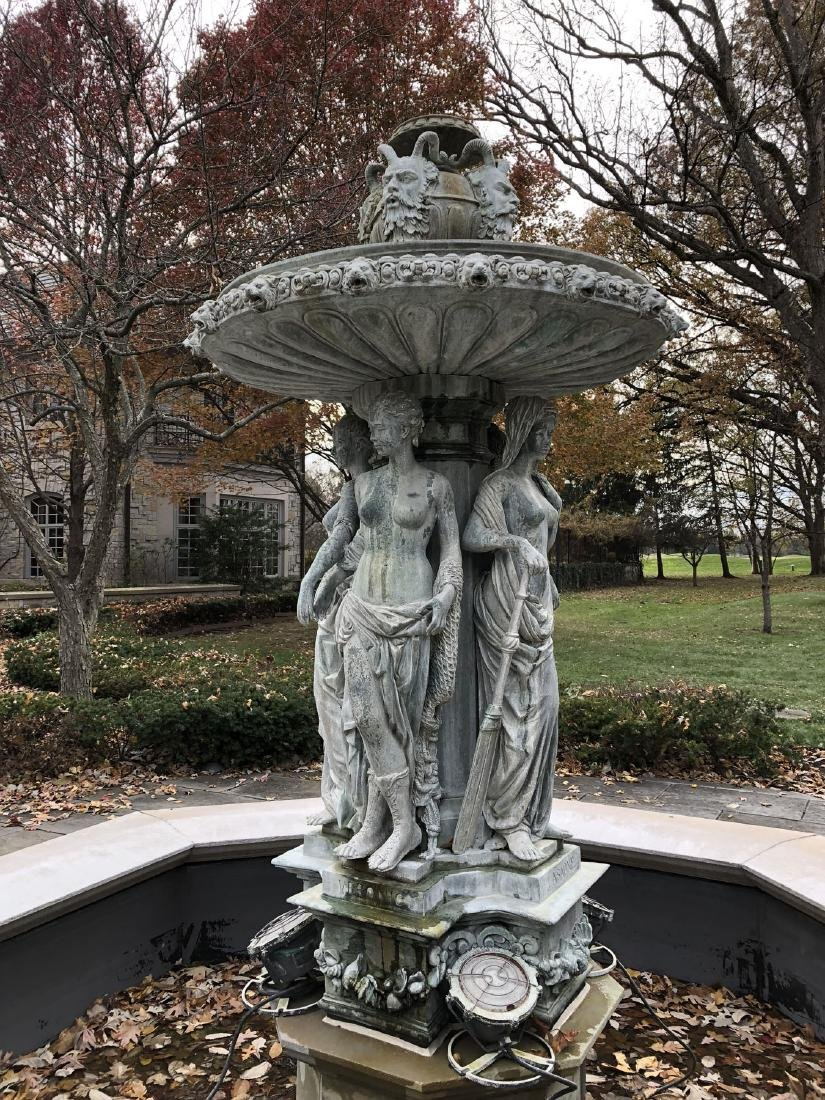 French Maidens Bronze and Stone Fountain - 10