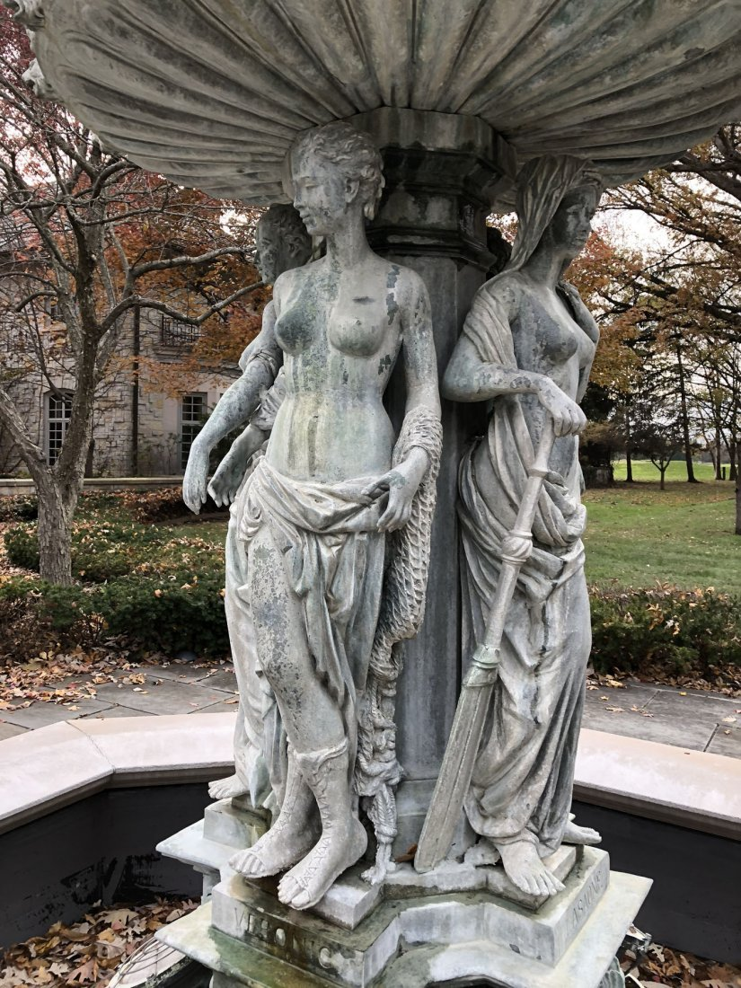 French Maidens Bronze and Stone Fountain - 3