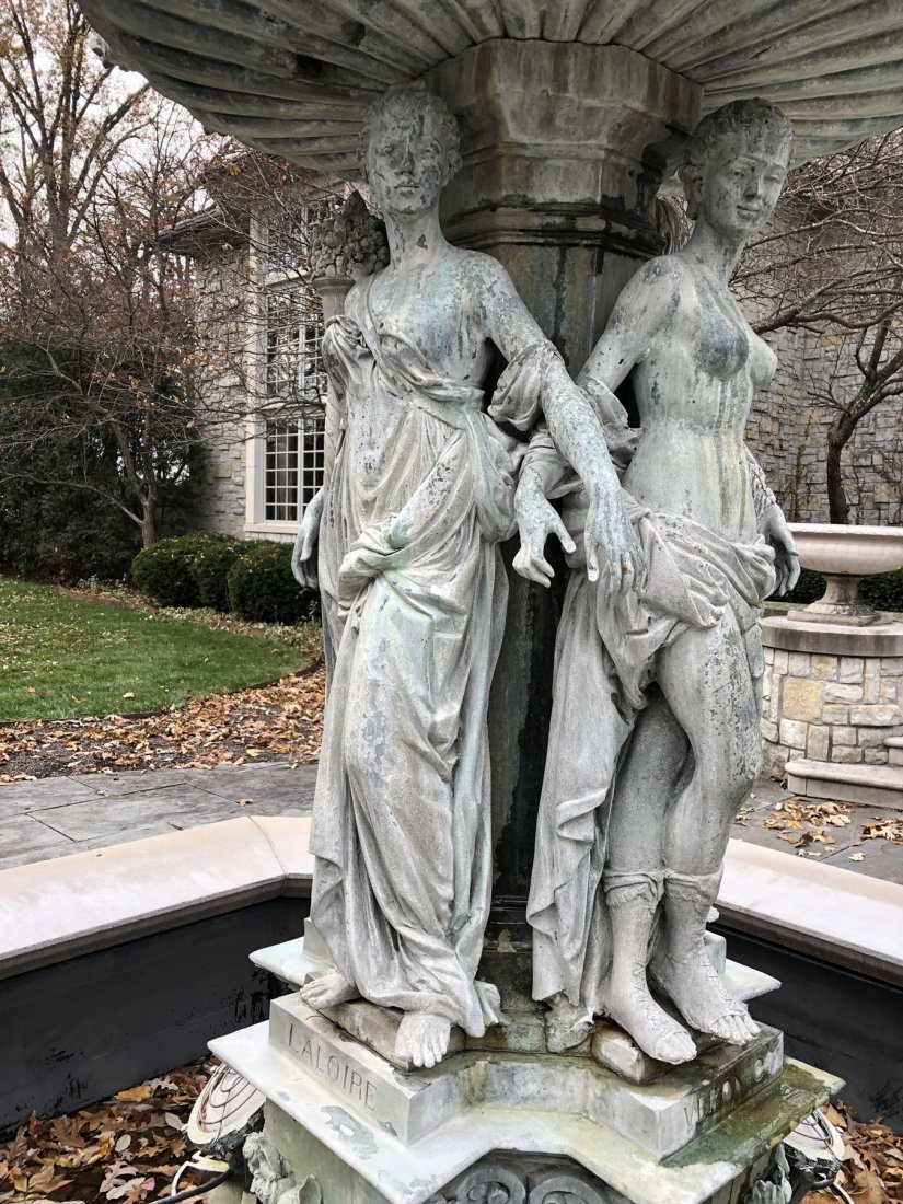 French Maidens Bronze and Stone Fountain - 4