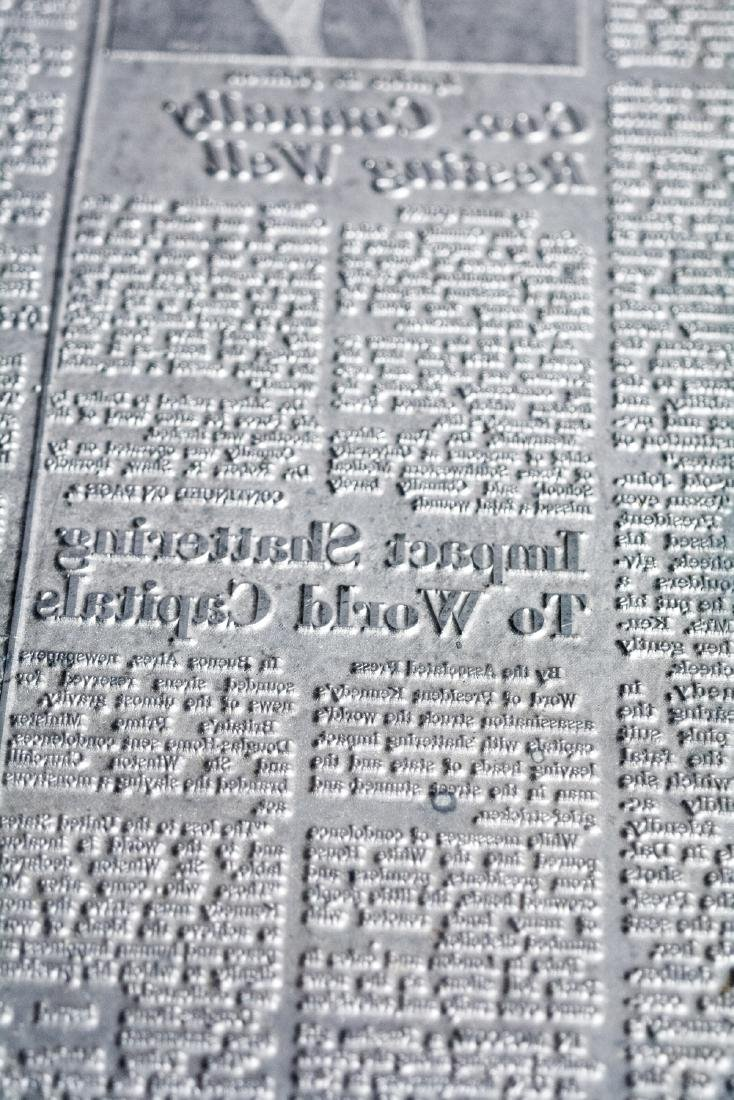 Original Image Plate of The Dallas Morning News JFK - 8
