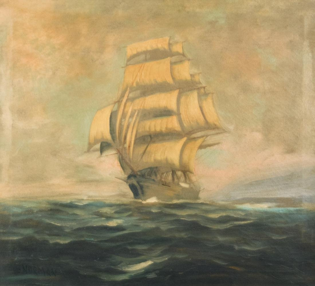 E. Norman, Sailing Ship Oil Painting