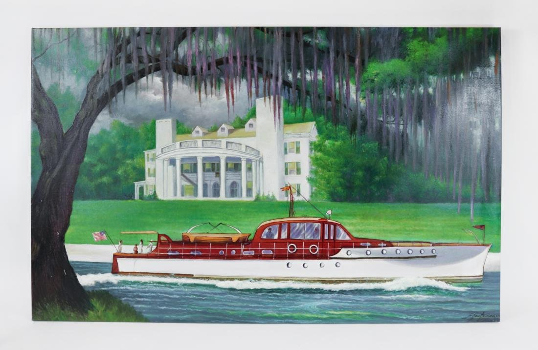 Oil Painting of a Yacht Passing an Estate circa 1845