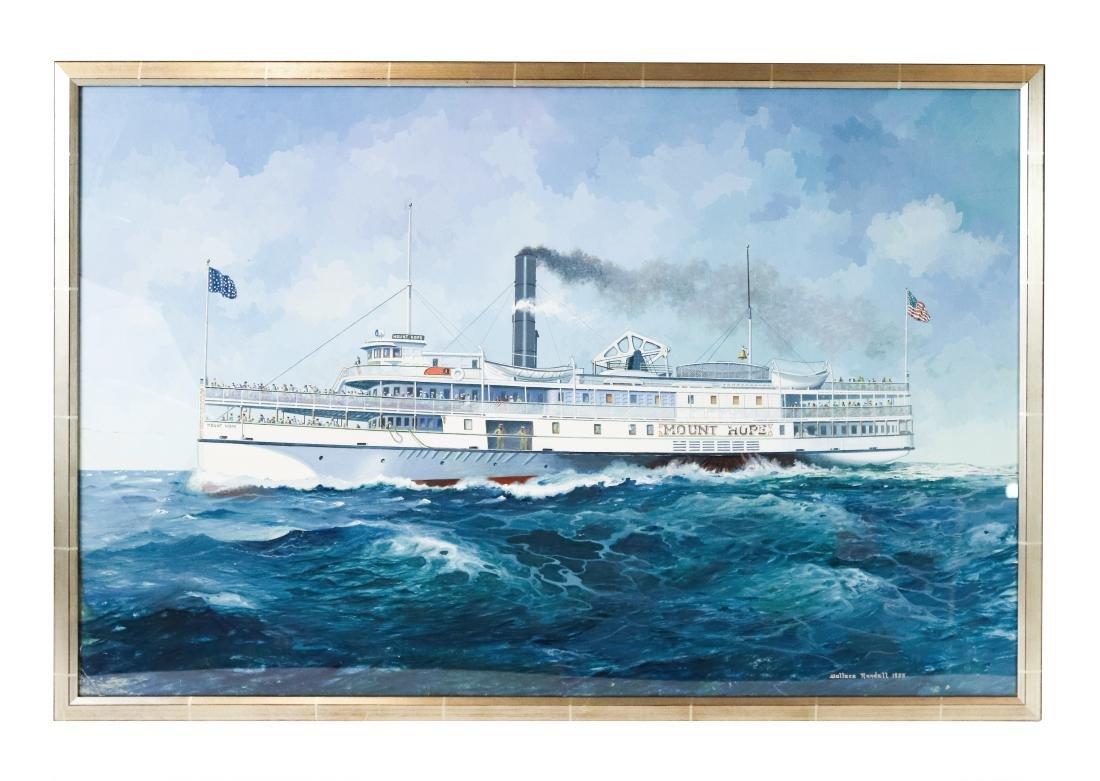Steamship Mount Hope Gouache by Wallace Randall