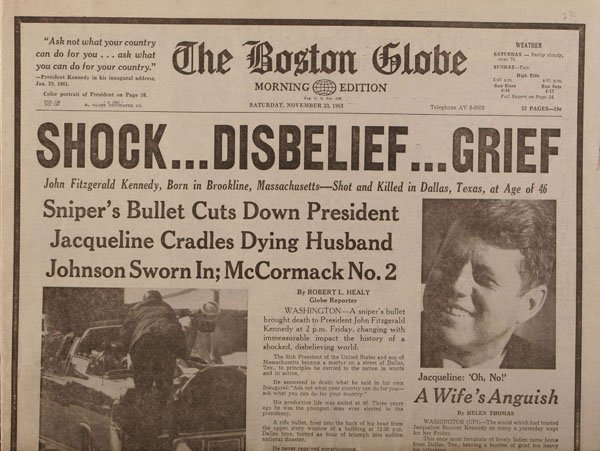 Boston Globe Edition JFK Assassination Newspaper