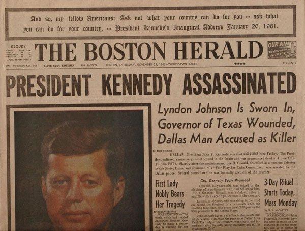 Boston Herald JFK Newspaper