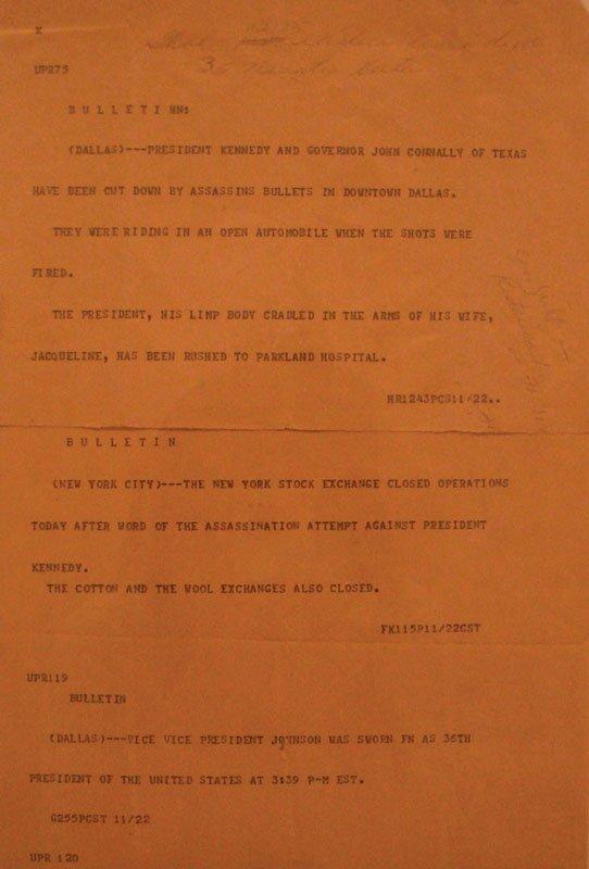 JFK Shooting Teletype