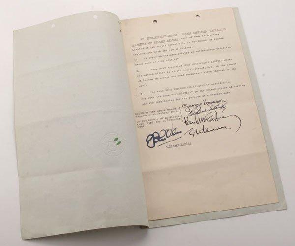 Signed Beatles Trademark Document