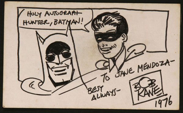 Bob Kane Ink Sketch Of Batman And Robin