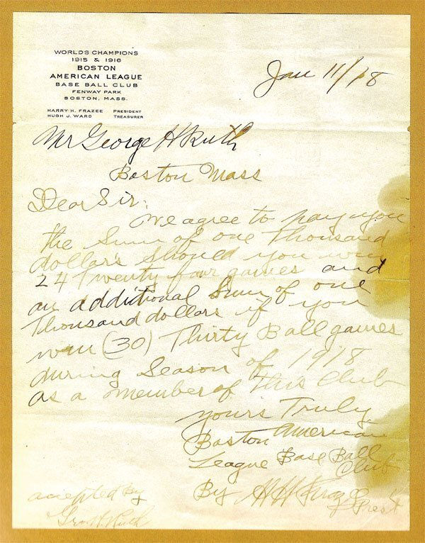 267: 1918 Babe Ruth Pitching Incentive Agreement