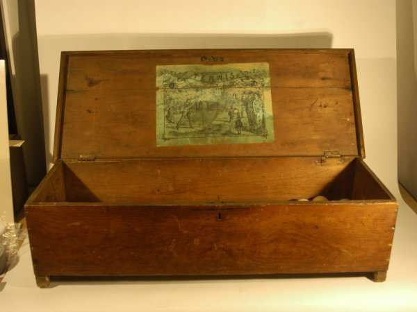 19: Wooden Tennis Set Box with Original Paper Tag, c. 1