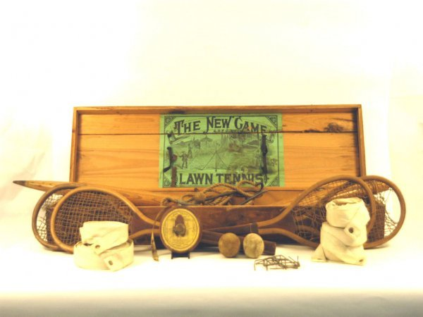 126: Very Early Complete Wooden Boxed Tennis Set, c.  1