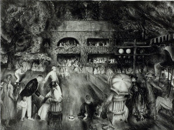 """429: George Bellows Lithograph """"The Tournament (Tennis"""