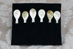 Four Sets Of Six Mother Of Pearl Caviar Spoons