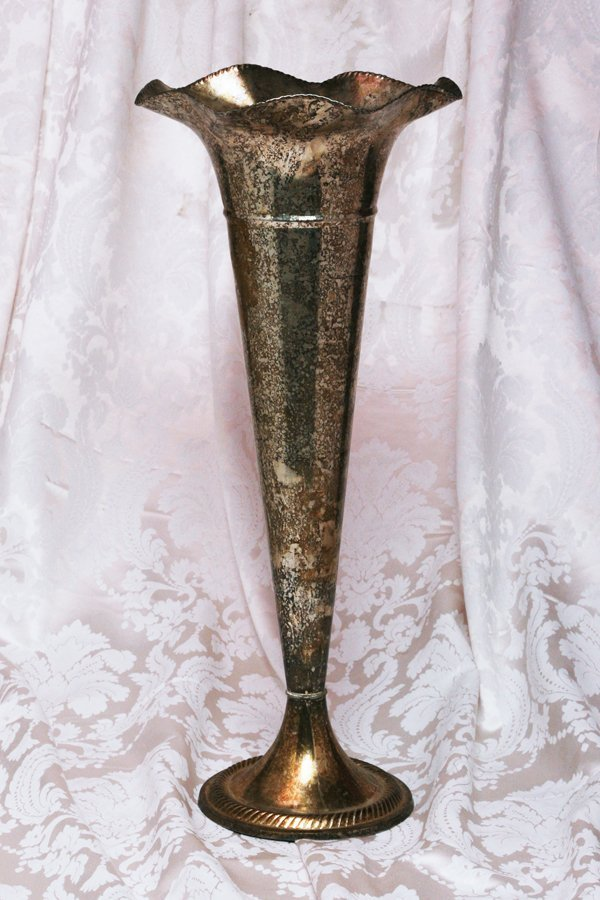 Silver Fluted Floor Vase