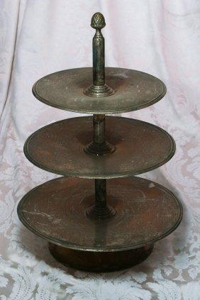 Three-Tiered Cake Stand with Acorn Finial