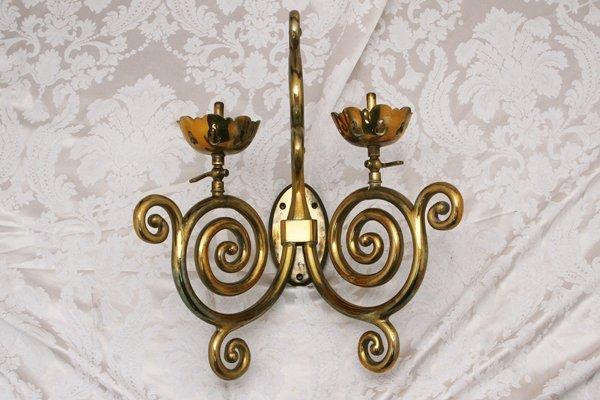 Pair of Antique Brass Gas Sconces