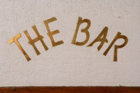 """The Bar"" Brass Lettering From The Lobby"