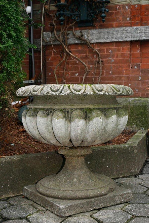 Pair of Simple Cast Stone Urns