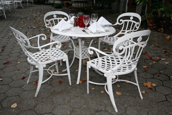 Four Empire-Style Garden Chairs and Table