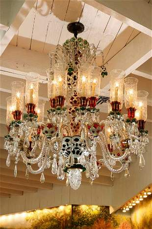 24-Light Green and Ruby French Chandelier