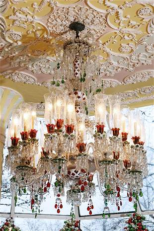 Baccarat Chandelier with Beaded and Drop Pendants