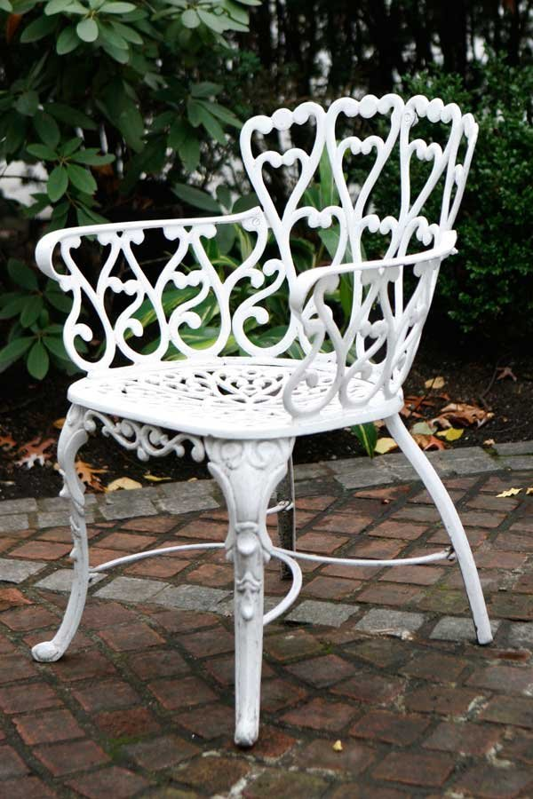 349A: Six Original Heart-Embellished Garden Chairs