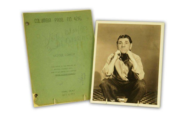 Three Stooges Script and Vintage Photograph