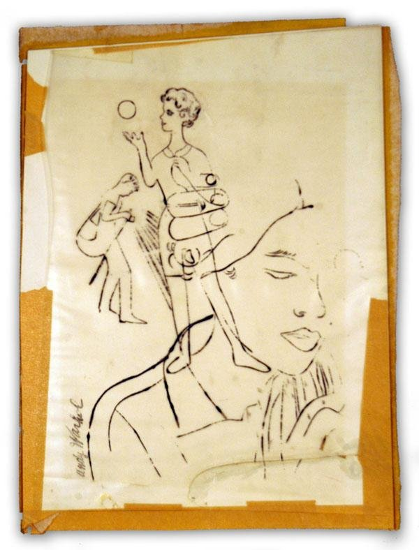 Signed Andy Warhol Fashion Sketch