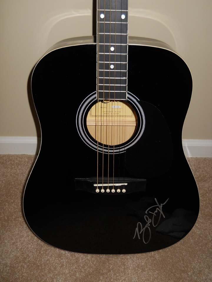 1349: Bob Dylan Signed Black Eleca Acoustic Guitar - 2