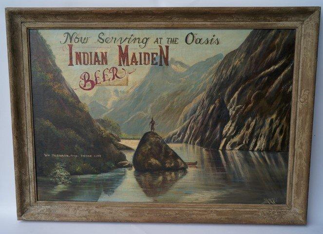 Indian Maiden Beer Advertising Sign