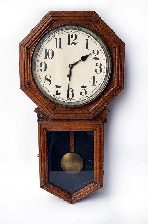Oak Cased Schoolhouse Clock