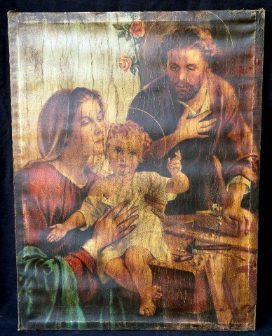 Spanish Colonial Oil The Holy Family