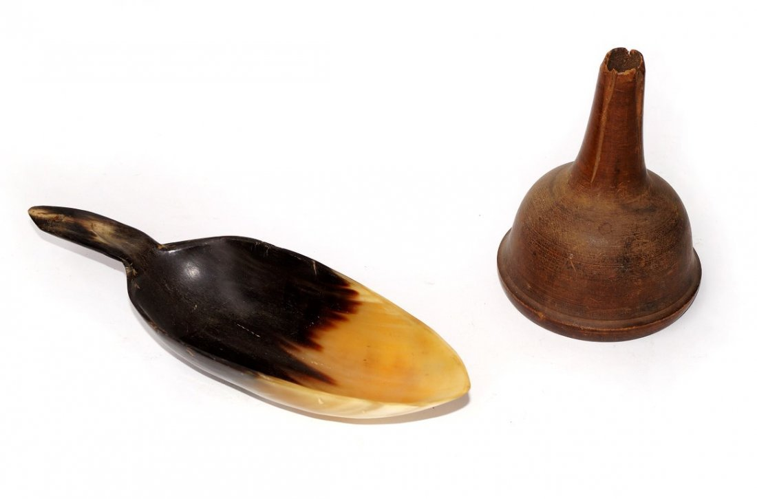 18th C. Horn Grain Scoop & Wooden Funnel