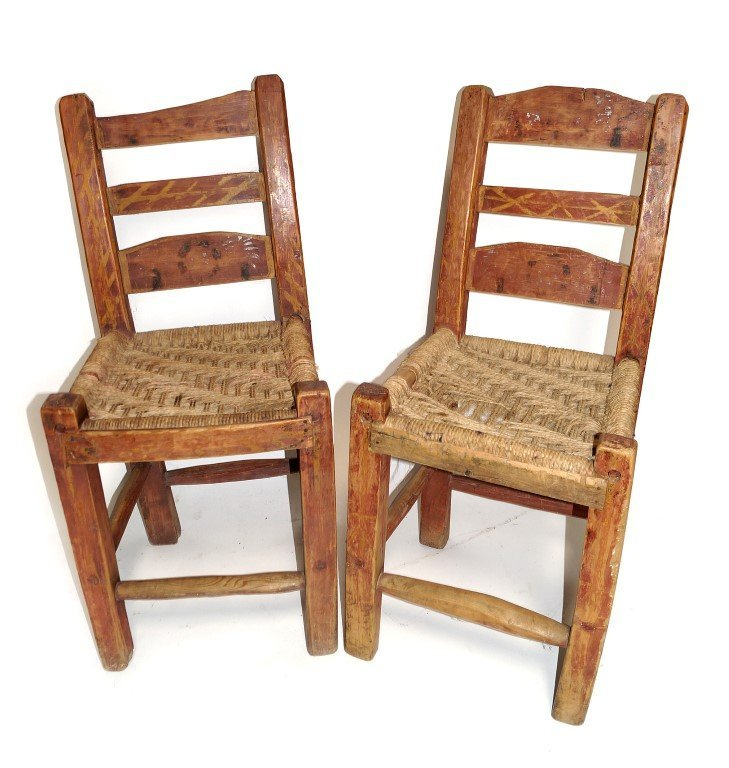 Pr. Spanish Colonial Ladderback Chairs