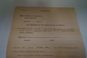 Indian Territory Arrest Warrant