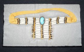 Bone Choker, Sterling and Turquoise Pendant