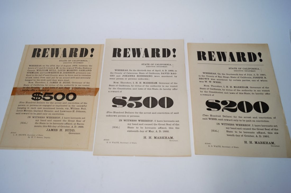 Three Reward Posters.