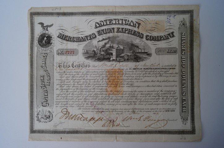William Fargo Stock Certificate Signed