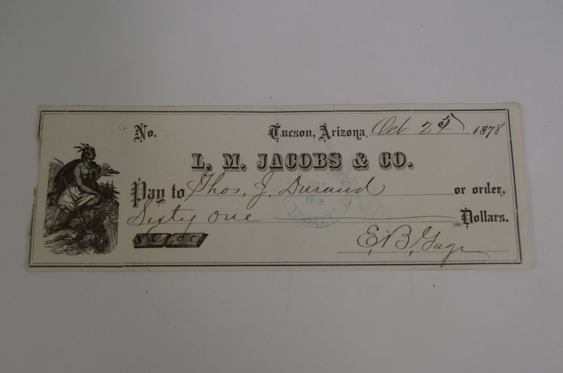 Signed Arizona Territory Check