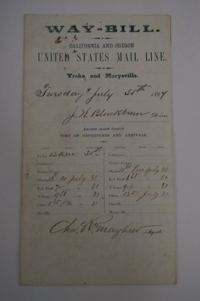 California And Oregon Stagecoach Waybill