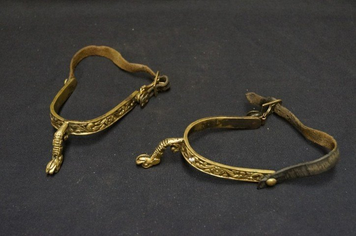 Brass Spurs. Figural Serpents