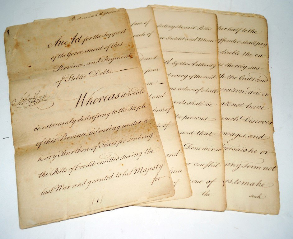 1775 Act signed by John Penn Governor